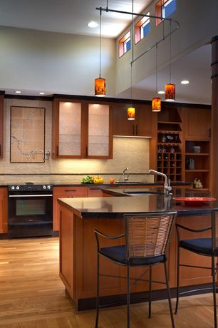 Asian Kitchen With High Ceiling, Flush, Red Oak   Natural Solid Hardwood  Plank (