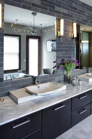 4 Tags Modern Master Bathroom With Decolav Classically Redefined Rectangular Vessel Sink Chandelier Pendant Light