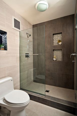 Modern master bathroom with recessed shower niche by yana - Ikea salle de bain petit espace ...