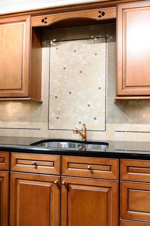 3 Tags Traditional Kitchen With Azure Scrabble, Black Pearl Granite  Countertop, MS International, Stone Tile