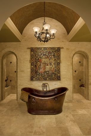 Mediterranean Master Bathroom With Limestone Tile Floors Pendant Light Zillow Digs Zillow