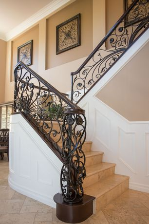 3 Tags Traditional Staircase With Limestone Tile Floors, Wainscoting, High  Ceiling