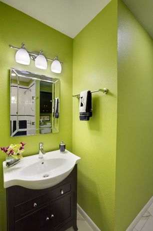 Modern Powder Room with Console Sink  Flat panel cabinets  Vogue Mirror  frameless showerdoor. Green Bathroom Ideas   Design  Accessories  amp  Pictures   Zillow