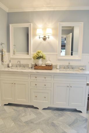 traditional master bathroom with inset cabinets flat