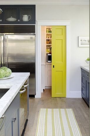 Superb 5 Tags Contemporary Kitchen With Pocket Door, European Cabinets, Flat Panel  Cabinets, Complex Marble Counters