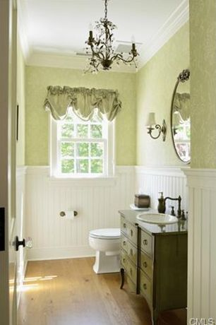 Traditional Powder Room With Inset Cabinets, Hardwood Floors, Wood  Counters, Wainscoting, Claire Part 98