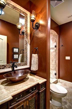 Mediterranean 3 4 Bathroom With Flush Flat Panel Cabinets Premier Copper Products Oval