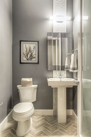 Modern Powder Room With Ceramic Tile By Green St