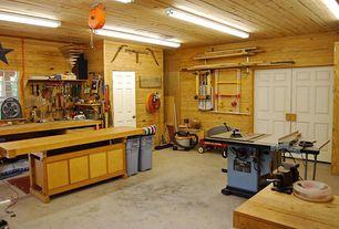 Rustic Garage With Flush Light High Ceiling Limestone Floors