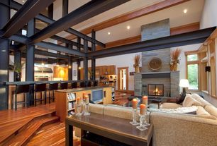 3 Tags Contemporary Living Room With Sunken Laminate Floors High Ceiling Exposed Beam