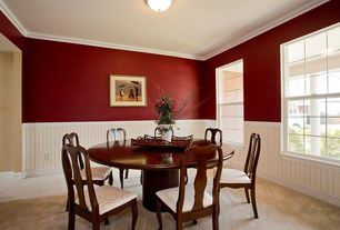 2 Tags Traditional Dining Room With High Ceiling, Flush Light, Wainscoting,  Carpet, Crown Molding
