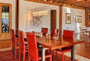 Contemporary Dining Room With Carpet Pendant Light Laminate Floors Interior Brick Exposed