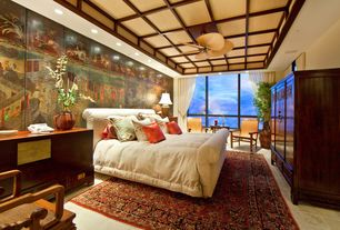Charmant Asian Master Bedroom With Carpet, Ceiling Fan, Limestone Tile Floors