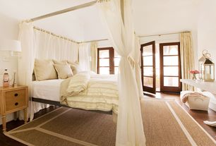 4 Tags Cottage Guest Bedroom With Architecture Bed, Tie Sheer Bed Canopy  Curtain Set In White