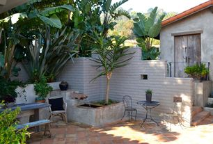 2 Tags Mediterranean Patio With Cement Wall, Fountain, Exterior Tile  Floors, Exterior Terracotta Tile Floors