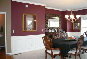 1 Tag Traditional Dining Room With Carpet, High Ceiling, Crown Molding,  Chandelier, Wainscoting,
