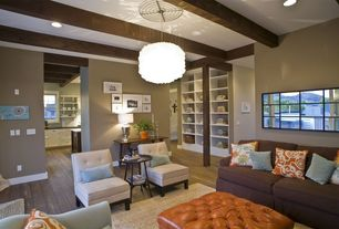 Contemporary Living Room With Exposed Beam Amp Pendant Light