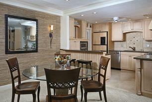 Modern Dining Room With Interior Wallpaper Travertine Floors Built In Bookshelf Concrete