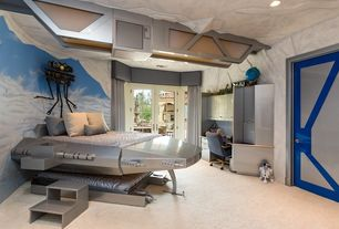 1 tag eclectic kids bedroom with interior wallpaper high ceiling carpet built in bookshelf - Luxury Kid Bedrooms