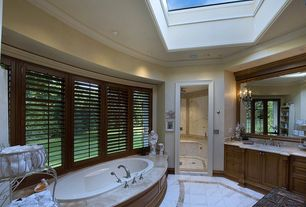 5 Tags Traditional Master Bathroom With Frameless Showerdoor, Graber Blinds  Custom Shutters., Skylight, Pearl