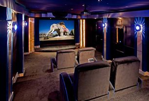 Modern Home Theater With Carpet, Wall Sconce, High Ceiling