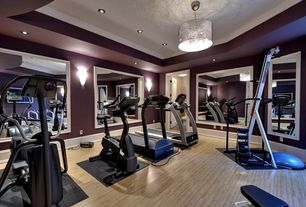 1 tag Transitional Home Gym with Pendant Light, High ceiling, Hardwood  floors, Carpet, Wall