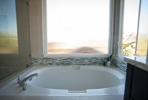 Transitional Full Bathroom With Windward Soaking Tub, Toffee Linear Linear  Mosaic Glass Wall Tile