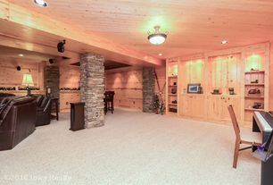 rustic basement with built in bookshelf columns carpet flush light high