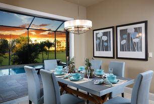 Contemporary Dining Room With Carpet Hardwood Floors Pendant Light Stella Teal Blue Leather