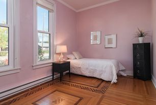Traditional Guest Bedroom With Hardwood Floors, High Ceiling, Crown Molding