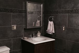3 Tags Traditional Powder Room With Porcelain Reside Black Porcelain Raised Panel Limestone Counters