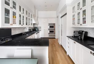 Traditional Kitchen With Breakfast Nook, U Shaped, Soapstone Counters,  Glass Panel,