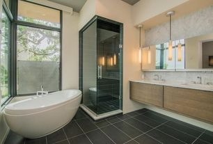 1 tag Contemporary Full Bathroom with Double sink, Complex Marble, European  Cabinets, Undermount Sink,