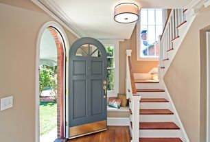 Traditional Staircase With Hardwood Floors High Ceiling