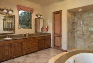 Rustic Master Bathroom With Frameless Showerdoor Flat Panel Cabinets Shower Doors By Dulles