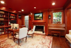 red home office. traditional home office with hardwood floors builtin bookshelf red
