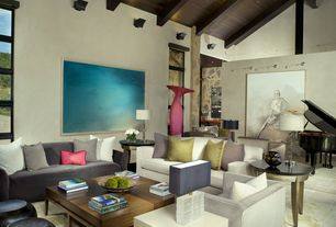 Contemporary Living Room With Exposed Beam, Carpet, Limestone Tile Floors,  High Ceiling