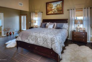 contemporary guest bedroom with high ceiling carpet travertine tile floors