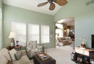 Traditional Living Room With High Ceiling, Ceiling Fan, Carpet
