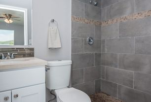 4 Tags Traditional 3 4 Bathroom With Rain Shower Head Complex Marble Counters Graphite Porcelain