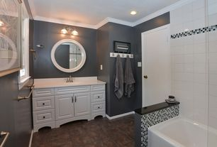 3 Tags Traditional Full Bathroom With Drop In Bathtub, Raised Panel, Crown  Molding, Corian