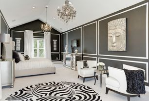 5 Tags Transitional Master Bedroom With White Chenille Accent Chair, Oscar  Hollywood Regency Silver Leaf 3 Drawer