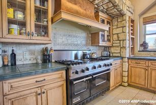 Traditional Kitchen With Leaded Glass Cabinet Door Lg 40 Durango Travertine