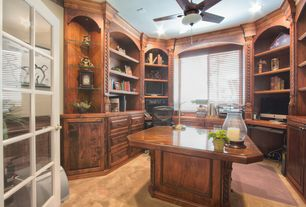4 tags traditional home office with built in bookshelf no worries carpet pattern