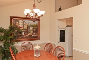 Traditional Dining Room With Chandelier High Ceiling Chair Rail