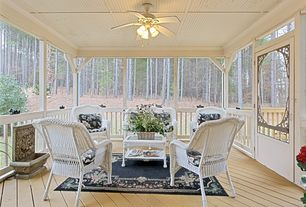 Country Porch With Wicker Patio Loveseat By Sure Fit, Transom Window, Screened  Porch,