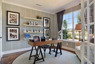 Transitional Home Office With Hardwood Floors, FlashFurniture Writing Desk,  Leo Cafe Chairs   Set