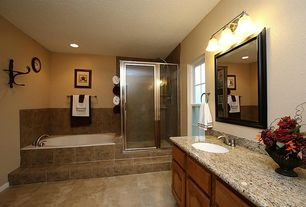 Traditional Full Bathroom With Legacy Series Sand Porcelain Tile, Brockport  3 Light Vanity Light By