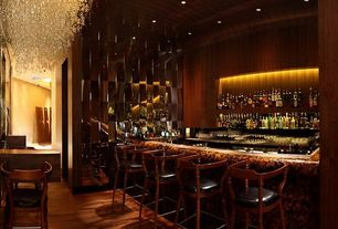 4 Tags Contemporary Bar With Interior Wallpaper, Small Corona Rectangular  Chandelier, High Ceiling, Chandelier,