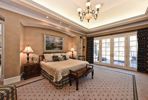 Traditional Master Bedroom with Crown molding, Chandelier, Carpet, High  ceiling